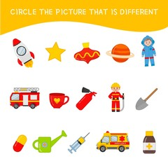 Educational  game for children. Circle the picture that is different. Kids activity with  cartoon objects.