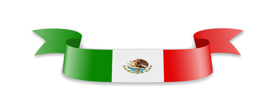 Mexico flag in the form of wave ribbon.