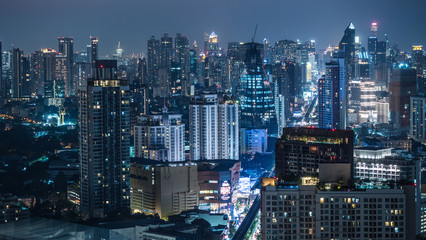 Business area in Bangkok, Thailand, showing buildings at night