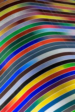 Colorful curves on facade of modern building, Miami, Florida, USA