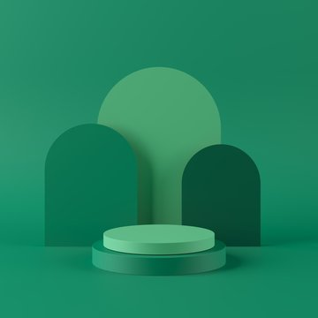 3d Geometric patterns in shades of green