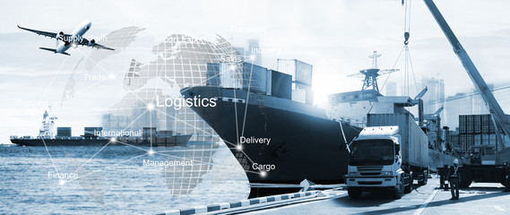 business of worldwide ,  Transportation ,  import-export, logistic Wall mural