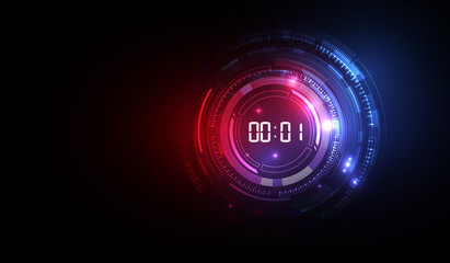 Abstract Futuristic Technology Background with Digital number timer concept and countdown, vector transparent Wall mural