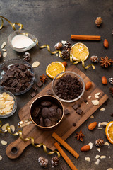 chocolates, ingredients on black table