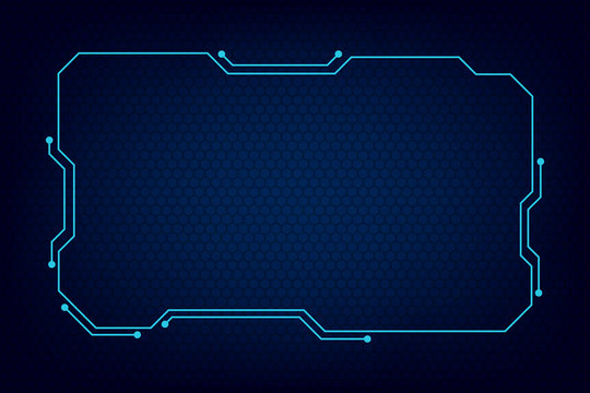 abstract tech sci fi hologram frame template design background