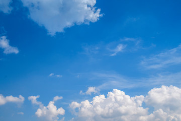 Blue sky with white clouds, clear blue sky with plain white cloud with space for text background