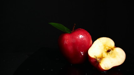 Photoshoot of fresh apple and half apple. Fruit