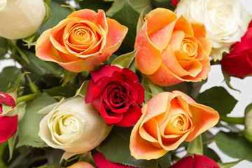 Bouquet of beautiful colorful roses close-up