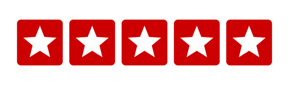 Five stars customer product rating review flat red icon for apps and websites