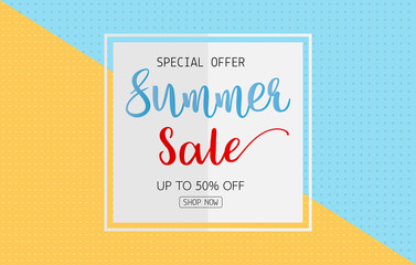 Summer sale text on white card on blue and orange color background