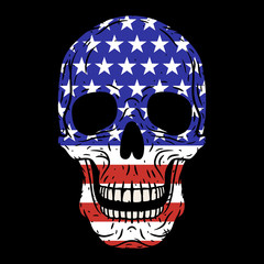 Human skull with American flag isolated on black background.