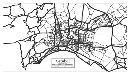 Setubal Portugal City Map in Retro Style. Outline Map.