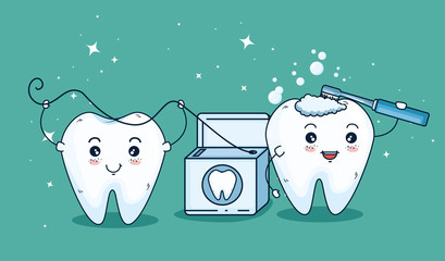 teeth care treatment with toothbrush and dental floss