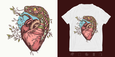 Snake and heart. Print for t-shirts and another, trendy apparel design. Symbol of love, envy, evil