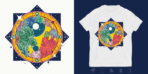 Floral Yin Yang. Mandala. Print for t-shirts and another, trendy apparel design. Meditation symbol, philosophy, harmony