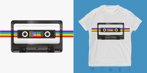 Audio cassette and rainbow. Music rint for t-shirts and another, trendy apparel design. Old school style 80s and 90s