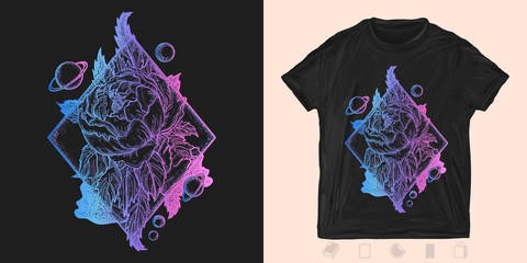 Space esoteric roses neon style. Print for t-shirts and another, trendy apparel design. Symbol of love, beauty, nature. Beautiful magic flower