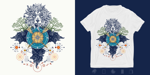Lion, compass, crossed arrows, roses and evergreen tree. Medieval print for t-shirts and another, trendy apparel design.  Symbols of tourism, hunting and traveling