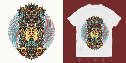 Mayan god. Print for t-shirts and another, trendy apparel design. Ancient aztec totem carved in stone