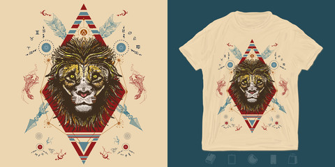 Lion and crossed arrows. Tribal print for t-shirts and another, trendy apparel design