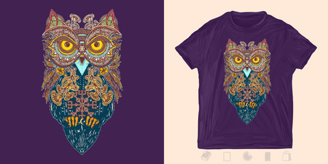Celtic owl in ethnic style. Print for t-shirts and another, trendy apparel design. Symbol of wisdom, meditation, thinking, philosophies, poetry