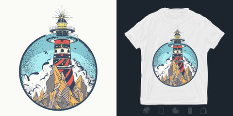 Lighthouse. Print for t-shirts and another, trendy apparel design. Beacon on the rock