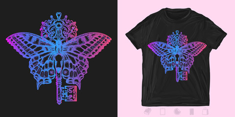 Butterfly and key. Print for t-shirts and another, trendy apparel design. Mystical symbol of freedom, spiritual search, flight, travel