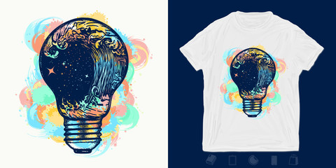 Storm in a light bulb. Print for t-shirts and another, trendy apparel design. Symbol of sea adventures