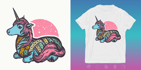 Magic unicorn. Fairy tale print for t-shirts and another, trendy apparel design. Symbol of dreams