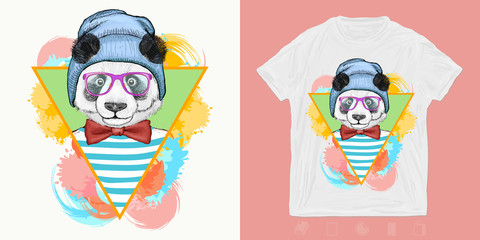 Panda, hipster animals. Print for t-shirts and another, trendy apparel design