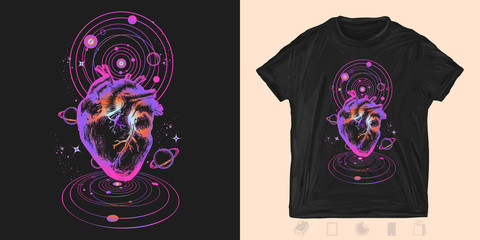 Heart in universe. Print for t-shirts and another, trendy apparel design. Symbol of love, philosophy, psychology, imagination, dream
