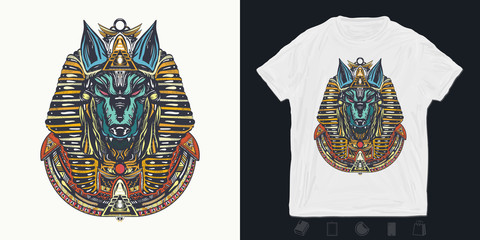 Anubis. Print for t-shirts and another, trendy apparel design.  God of war, Golden Mask of the Pharaoh, symbol of next world, kingdom of dead