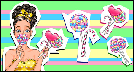 girl in the style of pop art. eating a lollipop. a lot of candies. vector illustration