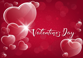 Red Valentine Background with Glassy Hearts over Bokeh Background - Illustration, Vector