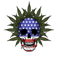 Skull with American flag and marijuana leaves.