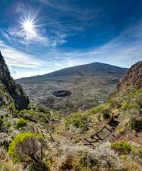 Enclos Fouque, Piton de la fournaise, île de la Réunion, départ du sentier pour le piton de la fournaise