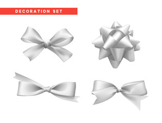 Bows white realistic design. Isolated gift bows with ribbons.