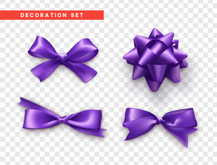 Bows purple realistic design. Isolated gift bows with ribbons.