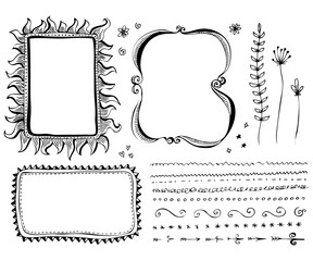 Hand drawn vector border line design elements set