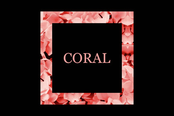"""Text """"CORAL"""" with flower coral decoration on black background. Trendy color of the Year 2019"""