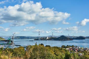 愛媛県 来島海峡サービスエリアからのしまなみ海道の眺め