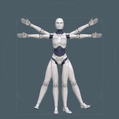 Vitruvian man, cyborg