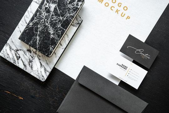 Black and white set of printed material mockups