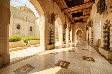 Deserted arched passageway, the Sultan Qaboos Grand Mosque, Oman