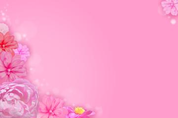 春の花の背景_ベゴニアと牡丹