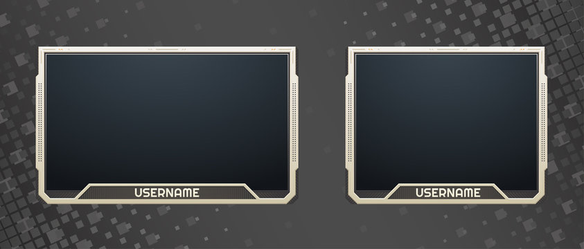 Stream webcam overlay. Twitch live facecam set, 16:9 and 4:3 screen resolution. Decoration for video game players. Eps10 vector