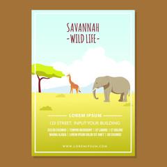Poster Design Savannah Wild Life with Elephant and Giraffe