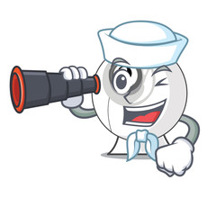 Sailor with binocular webcam is isolated with the cartoons