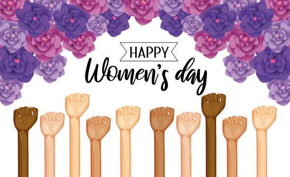 power hands up with roses to womens day celebration