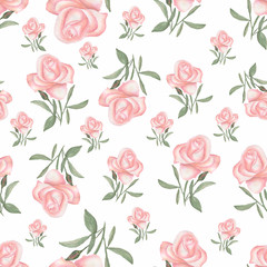 Watercolor seamless pattern with luxery flowers. Roses and herbs. Hand drawn.Vintage style.Seamless spring and summer pattern.Pale pink rose.Romantic garden flowers illustration. Faded colors.